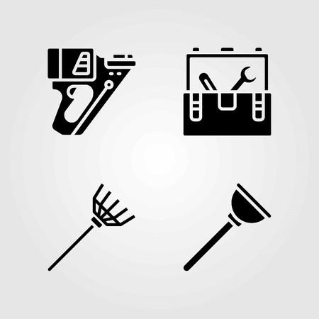 Tools vector icons set. tool box, plunger and nail gun