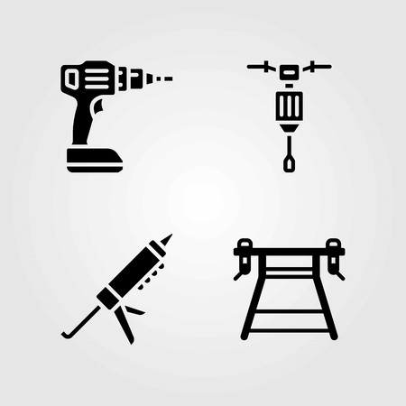Tools vector icons set. work brench, jackhammer and drill