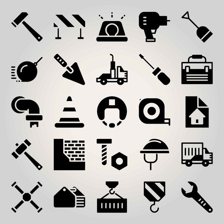 Construction vector icon set. crane, helmet, tube and barrier