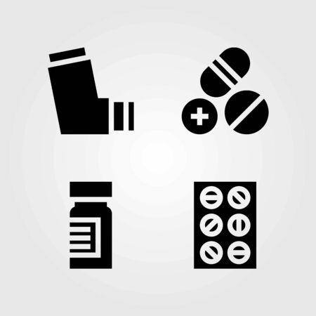 Medical vector icons set. medicine, tablets and inhaler