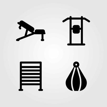 Fitness vector icons set. pull up, punching and gym bars