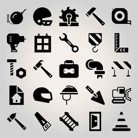 Construction vector icon set. door, blueprint, wrench and screw