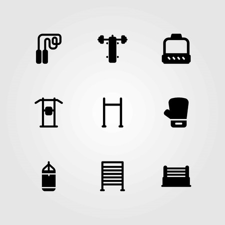 Fitness vector icons set. glove, skipping and punching bar Illustration