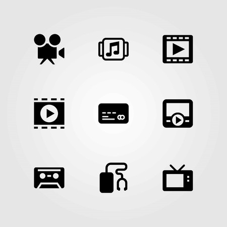 Technology vector icons set. video camera, credit card and music player Vectores