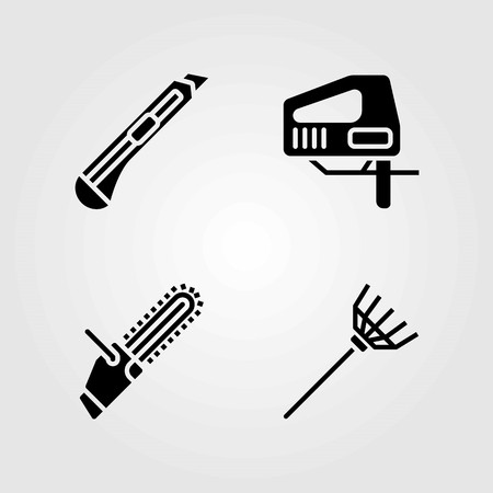 Tools vector icons set. jigsaw, chainsaw and cutter