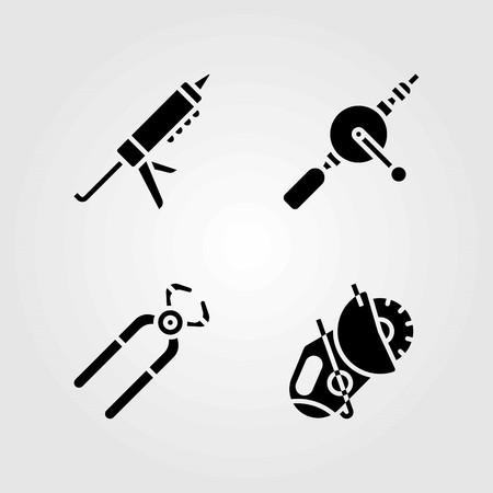 Tools vector icons set. sealant gun, power saw and hand drill