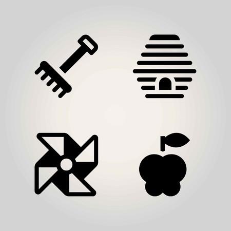 Farm vector icon set. pinwheel, beehive, apple and rake