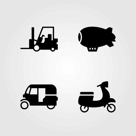 Transport vector icons set. forklift, tuk tuk and zeppelin