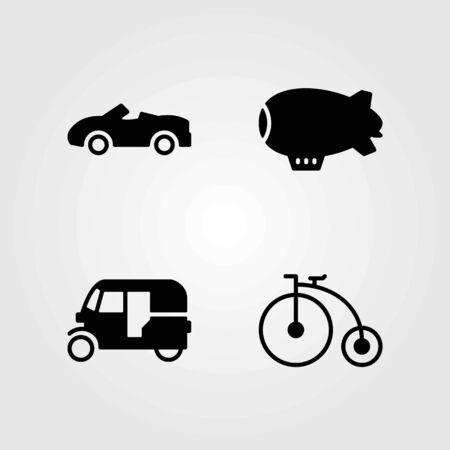Transport vector icons set. car, tuk tuk and bicycle