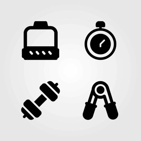 Fitness vector icons set. block, chronometer and dumbbell