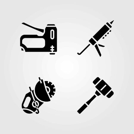Tools vector icons set. mallet, staple gun and sealant gun 일러스트