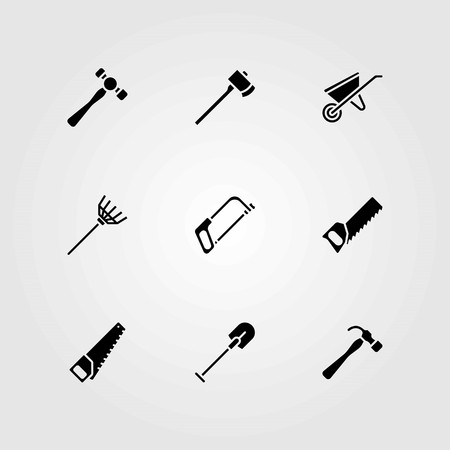 Garden vector icons set. handsaw, hammer and rake