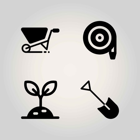 Agriculture vector icon set. hose, shovel, sprout and wheelbarrow Ilustrace
