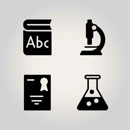 Science vector icon set. microscope, book and serticifate