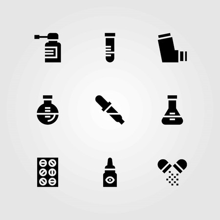 Medical vector icons set. flask, eye drops and inhaler
