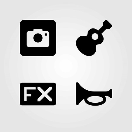 Multimedia vector icons set. trumpet, fx and photo camera