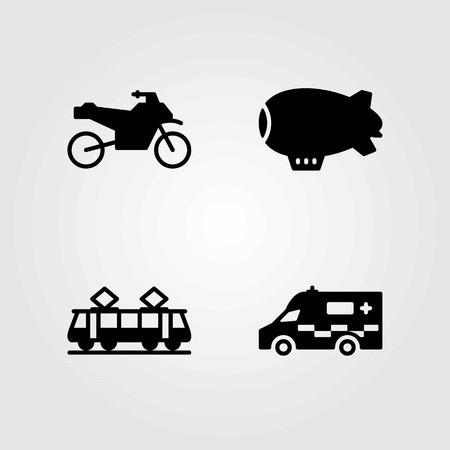 Transport vector icons set. ambulance, tram and zeppelin Stok Fotoğraf - 94018268