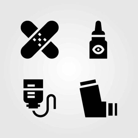 Medical vector icons set. inhaler, eye drops and patch