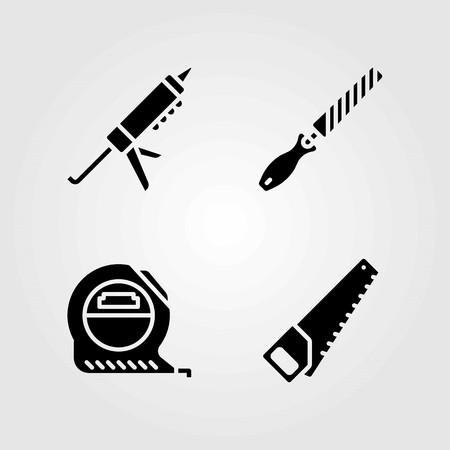 Tools vector icons set. sealant gun, tape measure and measure