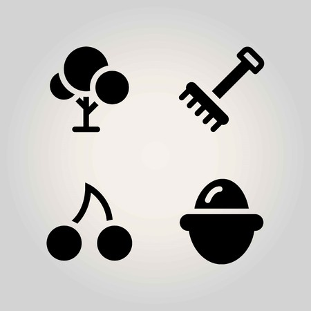 Agriculture vector icon set. tree, cherry, rake and egg Ilustrace