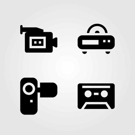 Technology vector icons set. video camera, camera and cassette Ilustração