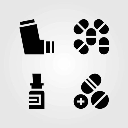 Medical vector icons set. pills, inhaler and medicine