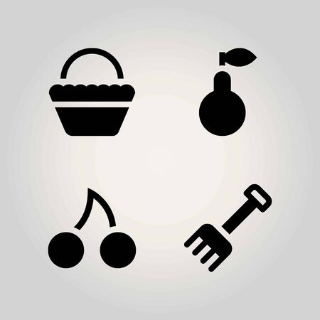 Agriculture vector icon set. Rake, pear, basket and cherry.