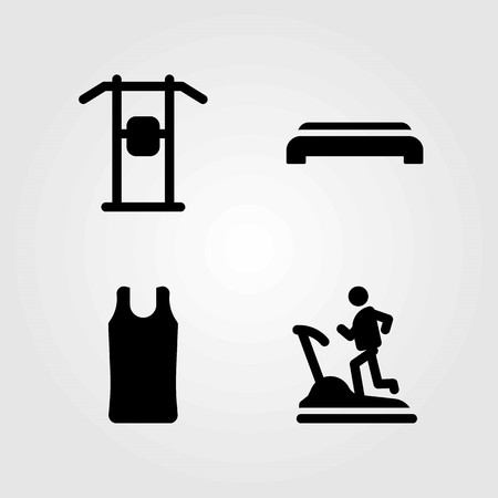 Fitness vector icons set. treadmill, pull up bar and sport shirt