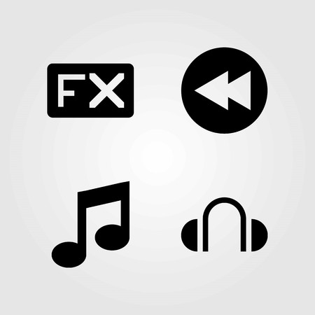Multimedia vector icons set. headphones, musical note and fx
