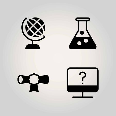 Science vector icon set. cetificate, flask and monitor 向量圖像