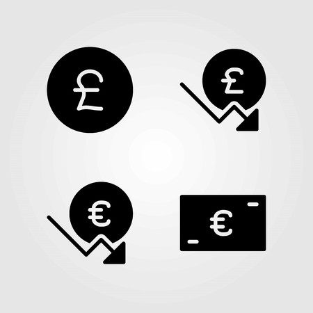 Sign vector icons set. pound sterling and euro