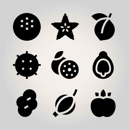 Fruits vector icon set. apricot, lychee, peach and carambola Ilustração