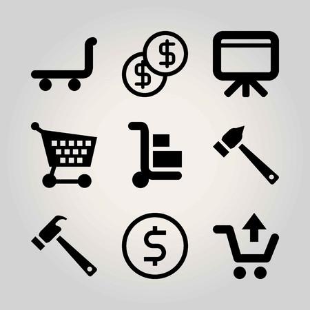 Business vector icon set. trolley, dollar, blackboard and hammer