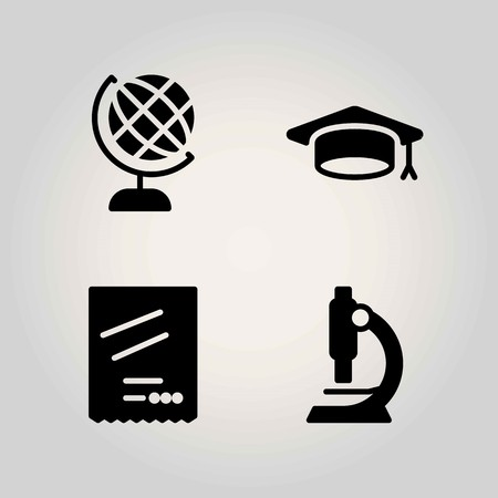 Science vector icon set. earth, microscope and earth globe