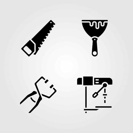 Tools vector icons set. clamp, scraper and handsaw