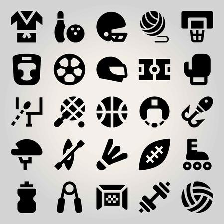 Sport vector icon set. badminton, ball, field and football Illustration