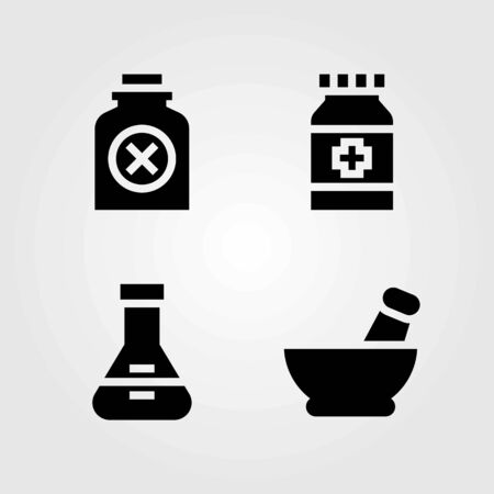 Medical vector icons set. medicine, mortar and pills