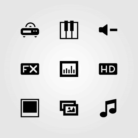Multimedia vector icons set. fx, keyboard and photo