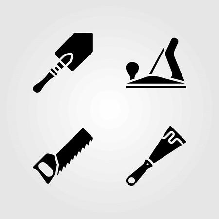 Tools vector icons set. shovel, handsaw and scraper Illustration