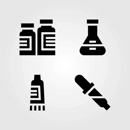 Medical vector icons set. pills, cream and flask