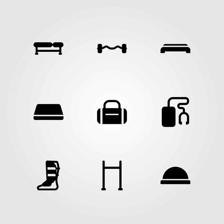Fitness vector icons set. pull up, bench and gym mat