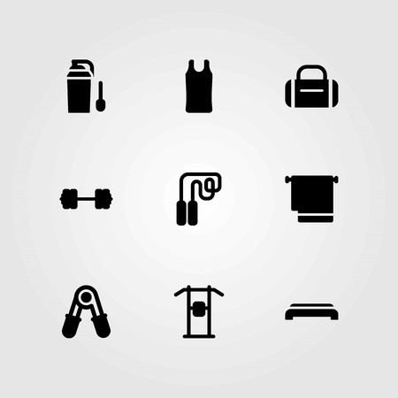 Fitness vector icons set. protein, step and sport shirt