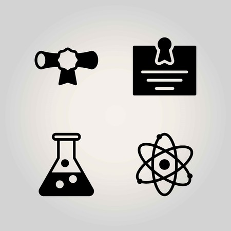Science vector icon set. cetificate, flask and atom
