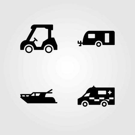 Transport vector icons set. caravan, ambulance and golf cart