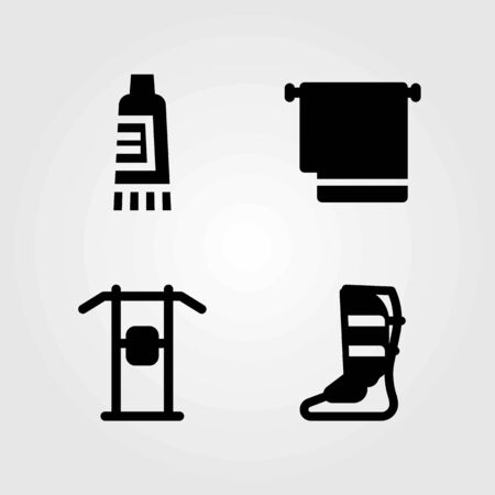 Fitness vector icons set. towel, pull up bar and shinpad
