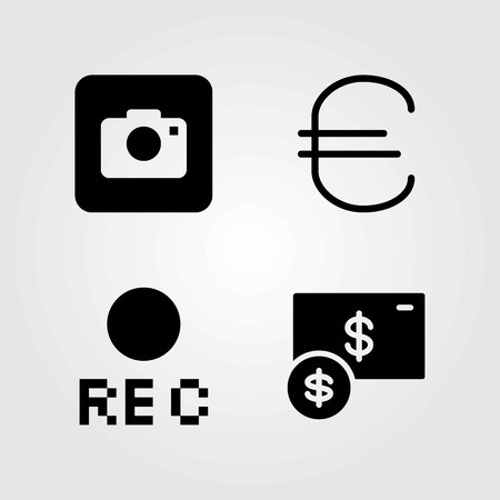 Buttons vector icons set. euro, photo camera and rec