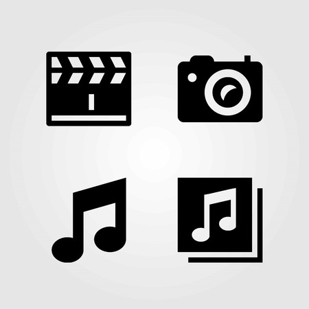 Multimedia vector icons set. quaver, photo camera and clapperboard