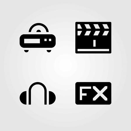 Multimedia vector icons set. headphones, radio and clapperboard