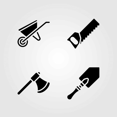 Garden vector icons set. handsaw, shovel and axe
