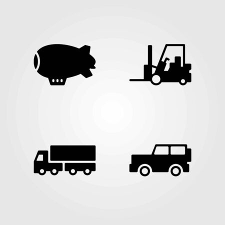 Transport vector icons set. lorry, forklift and car Stok Fotoğraf - 94022868